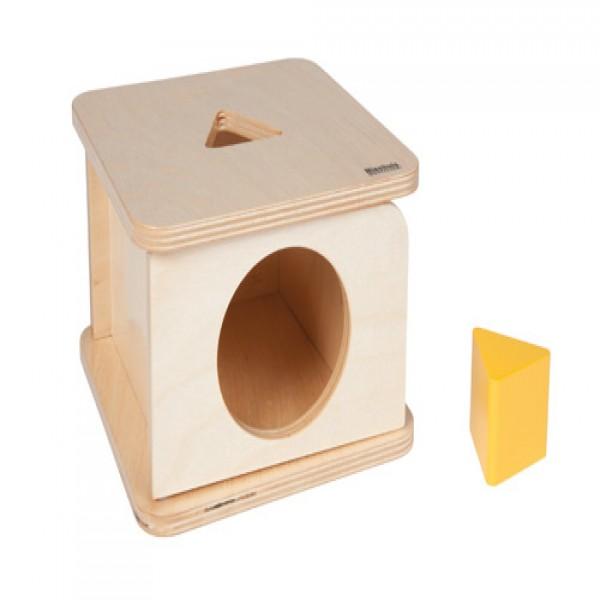 Hộp gỗ vuông kèm khối tam giác màu vàng