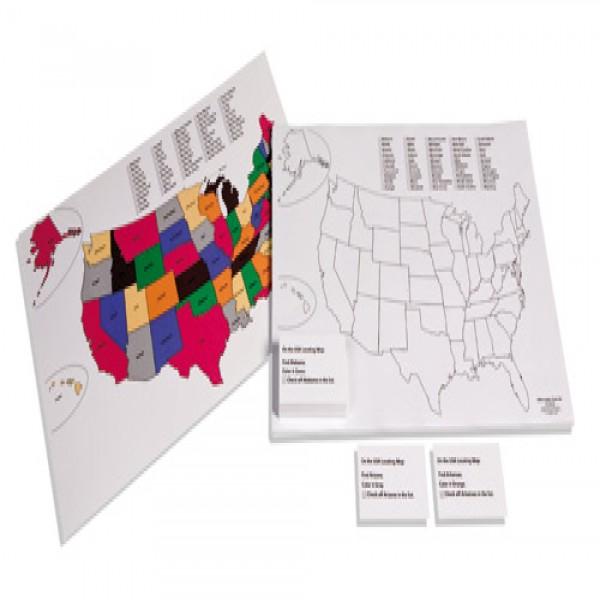 Bộ bản đồ màu để xác định các bang ở nước Mĩ