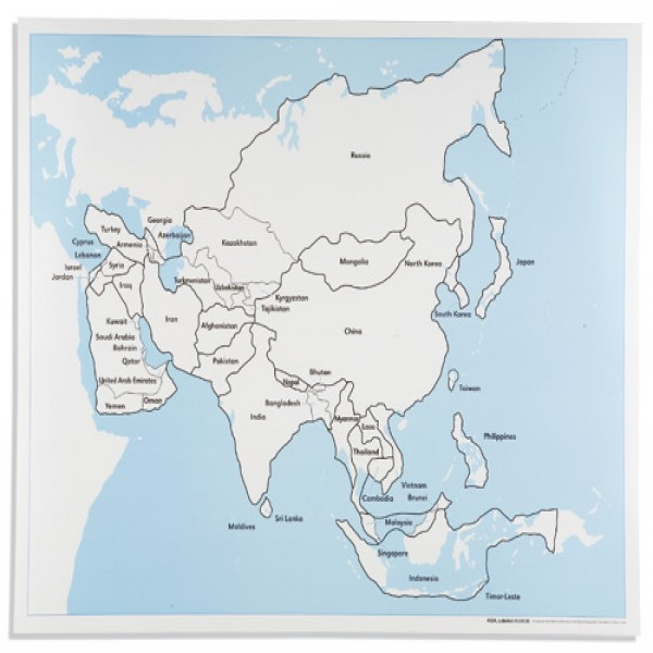 Bản đồ Châu Á: Đã dán nhãn