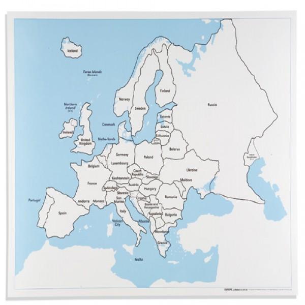 Bản đồ Châu Âu: Đã dán nhãn
